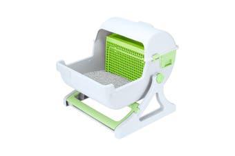 Petscene Cat Litter Box Pet Semi Automatic Cat Toilet Cat Furniture Green