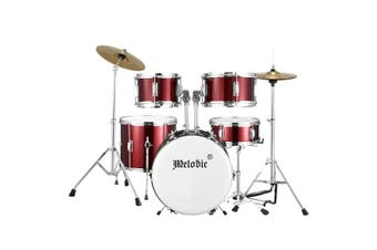 Melodic 5 Piece Drum Kit for Children Kids w/ Kick Pedal Cymbals Stool Drumsticks Red