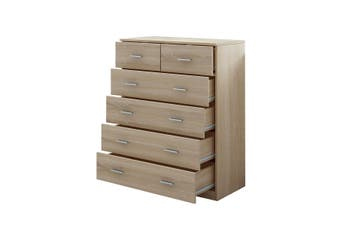 6 Chest of Drawers Tallboy Storage Bedroom Cabinet Oak