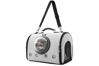 PetScene Dog Cat Crate Pet Bubble Backpack Carrier Puppy Kitty Travel Bag Grey