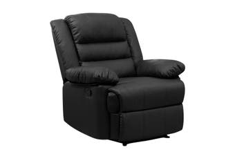 Luxury Armchair Lounge Recliner Chair Leather Reclining Chair Black