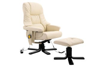 Full Body Massage Recliner Chair 8 Point Heated Office Chair Beige