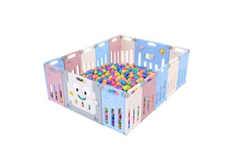 ABST 16 Panel Baby Safety Gate Playpen Toddler Fence Barrier Elephant Design