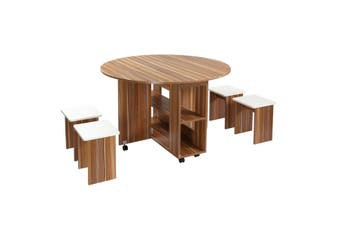 Wooden Folding Dining Table and 4 Chairs Set Round Table with Wheels