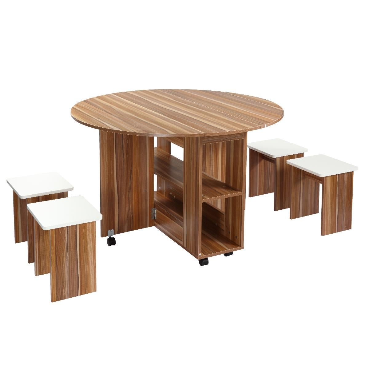 Wooden Folding Dining Table And 4 Chairs Set Round Table With Wheels Matt Blatt