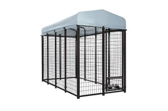 Galvanised Steel Dog Kennel Enclosure Pet Playpen Fence with Fabric Cover 2.4x1.2x1.8M
