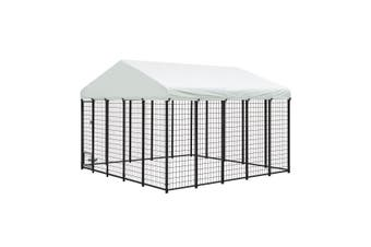 Galvanised Steel Dog Kennel Enclosure Pet Playpen Fence with Fabric Cover 3x3x2.1M