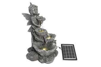 Fairy 4-Tier Solar Water Fountain Garden Features Outdoor Bird Bath With Led Light