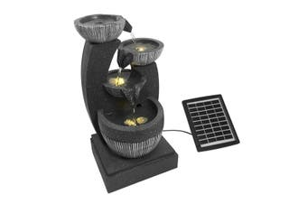 4-Tier Solar Water Fountain Garden Features Outdoor Bird Bath With Led Light Grey