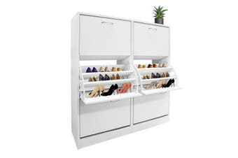 Wood Shoe Cabinet 54 Pairs Shoe Rack White with 6 Compartments