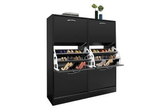 Wood Shoe Cabinet 54 Pairs Shoe Rack Black with 6 Compartments