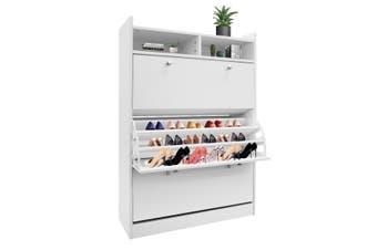 45 Pairs Wood Shoe Cabinet Rack Storage Shelves in White Finish