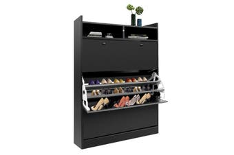 45 Pairs Wood Shoe Cabinet Rack Storage Shelves in Black Finish