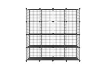 Metal Wire 16-Cube Organizer DIY Storage Modular Cabinet for Toys Books Clothes Black