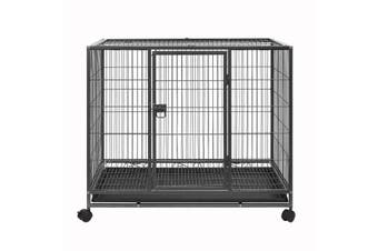36 Inch Heavy Duty Dog Cage Kennel Metal Pet Dog Crate Playpen Wheels & Tray