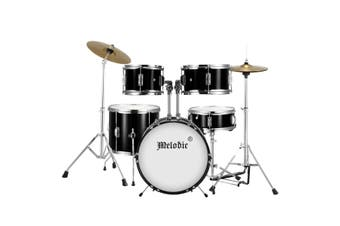 Melodic 5 Piece Kids Junior Drum Set w/ Hi Hat Cymbals Kick Pedal Stool Drumsticks