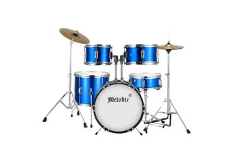Melodic Classic 5 Piece Drum Set Kit for Children Kids with Stool Cymbals Drumsticks Blue