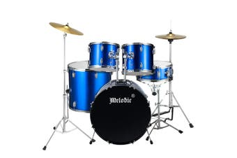 Melodic Complete 5 Piece Drum Set with Cymbals Kick Pedal Stool Blue