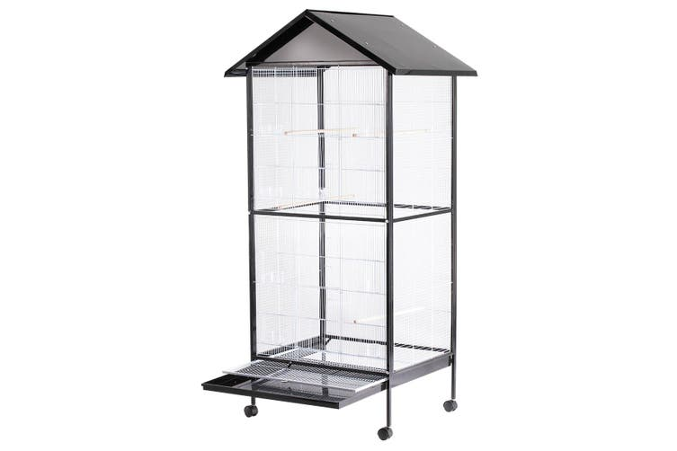 Rolling Large Pet Bird Parrot Cage Carrier Stand Perches   185cm