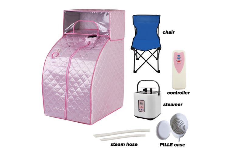 Portable Steam Sauna Tent Pink with Chair and Hat for Detox Weight Loss