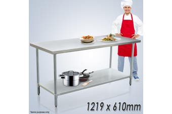 Galvanized Steel 122cm x 61cm Kitchen Workbench and Catering Table