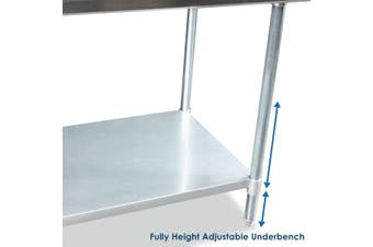 NSF Certified Stainless Steel Commercial or Home Kitchen Prep & Work Table with Under Shelf 183cm x 61cm