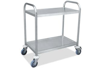 Two layer Stainless Steel Kitchen Storage Trolley