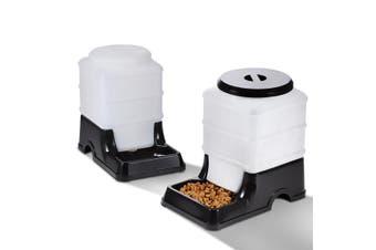 Automatic Pet Dog Cat Food Feeder Water Dispenser 2x2L