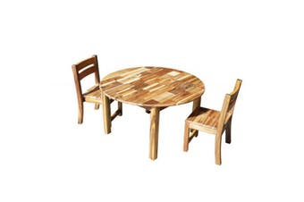 Acacia Round Table 90cm & 2 Stacking Chairs
