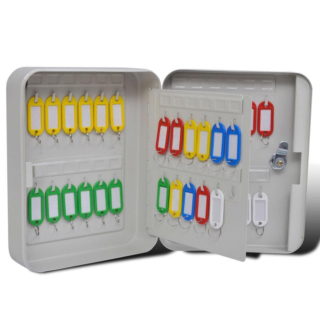 Key Box with 48 Key Tags KEY BOX WITH 48 KEY TAGS  Use this convenient key box to organize keys at home or in the office, warehouse, hotels, etc. This key cabinet is constructed of heavy-duty steel with a beige powder coated finish. Equipped with a high-quality key lock, it will keep your keys safe. 48 key tags in 5 different colours are included to help organize the keys. This key box can be easily mounted onto the wall with the included fixtures. FEATURES  Colour: Beige Material: Steel Total dimensions: 20 × 7.5 × 25 cm (W x D x H) Featuring 48 key tags in 5 different colours Equipped with a high-quality key lock, 2 keys included 2 pre-drilled holes in the back for fixing into the wall PACKAGE CONTENTS  1 x Key Box with 48 Key Tags
