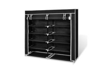 Fabric Shoe Cabinet with Cover - Black