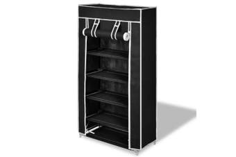 Fabric Shoe Cabinet with Cover - Brown