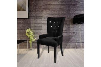 Velvet-Coated Black Wood Dining Armchair - Black