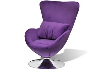 Egg-Shaped Swivel Chair With Small Cushion - Silver