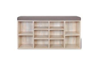Shoe Storage Bench 10 Compartments - Oak