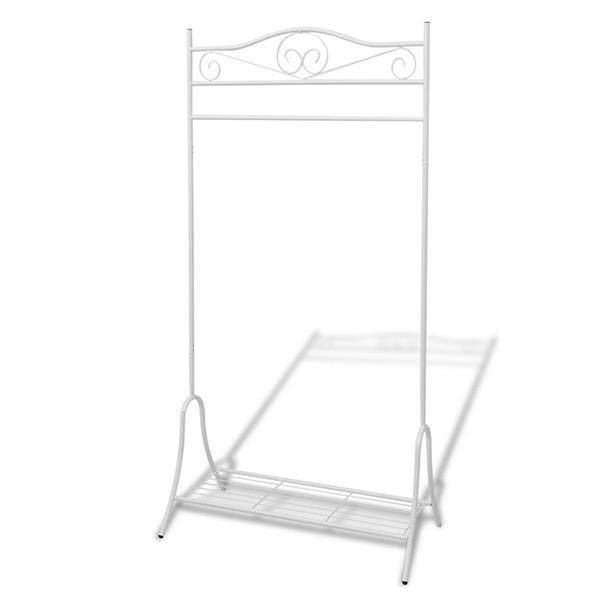 Clothing Rack Steel - White CLOTHING RACK STEEL This sturdy clothing rack presents a quick and convenient clothing storage solution. It can be placed anywhere in your home and is ideal for keeping your clothing organised and crease free. This clothing rack, with top hanging bar and bottom shelf, will create extra hanging space for your suits, dresses, shoes, and more. It offers you easy access to all of your clothes and accessories. The elegant ornate details make this coat stand decorative as well as practical. This garment rack has a sturdy steel structure, which makes it lightweight yet strong. The bottom shelf can be used to store shoes or baskets. Assembly is really easy. SPECIFICATIONS Material: Steel Dimensions: 90 × 44 × 174 cm (L x W x H) Assembly is really easy Available colours: White, Black PACKAGE CONTENTS 1 x Clothing Rack Steel Note: This item may arrive in a separate delivery to the rest of your order. Usual dispatch time is 1-2 business days from order.