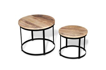 Coffee Table Set 2 Pieces Rough Mango Wood Round 40/50 Cm