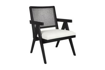 The Imperial Arm Chair Black Frame With White Linen