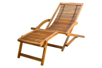 Acacia Wood Deck Chair with Footrest
