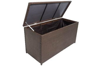 Garden Storage Chest Poly Rattan Brown