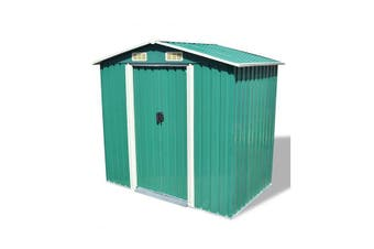Garden Storage Shed Green Metal 204 X 132 X 186 Cm