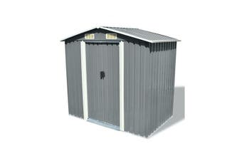 Garden Storage Shed Grey Metal 204 X 132 X 186 Cm