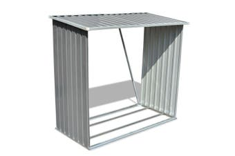 Galvanized Steel Log Storage Shed - Grey