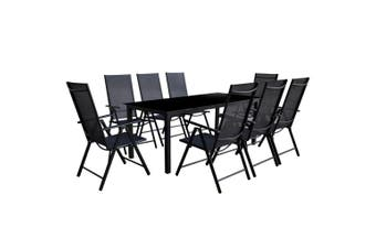 Outdoor Dining Set 9 Pieces Aluminum Black