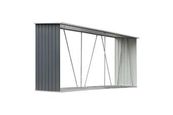 Garden Log Storage Shed Galvanised Steel Grey