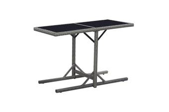 Garden Table 110X53X72 Cm Glass And Poly Rattan - Black