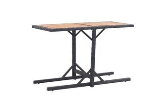 Garden Table Solid Acacia Wood And Poly Rattan - Black
