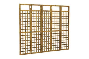 5 Panel Room Divider Trellis Solid Acacia Wood 200X170 Cm