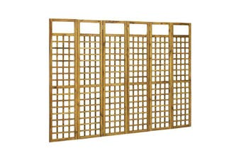 6 Panel Room Divider Trellis Solid Acacia Wood 240X170 Cm