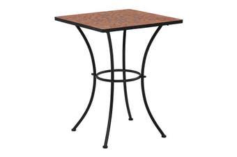 Mosaic Bistro Table 60 Cm Ceramic - Terracotta and white